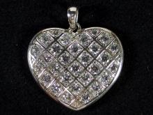Lot 42: Silver 925 Heart CZ Pendant