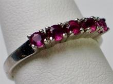 Lot 43: 14K White Gold Ruby Ring, Size 7