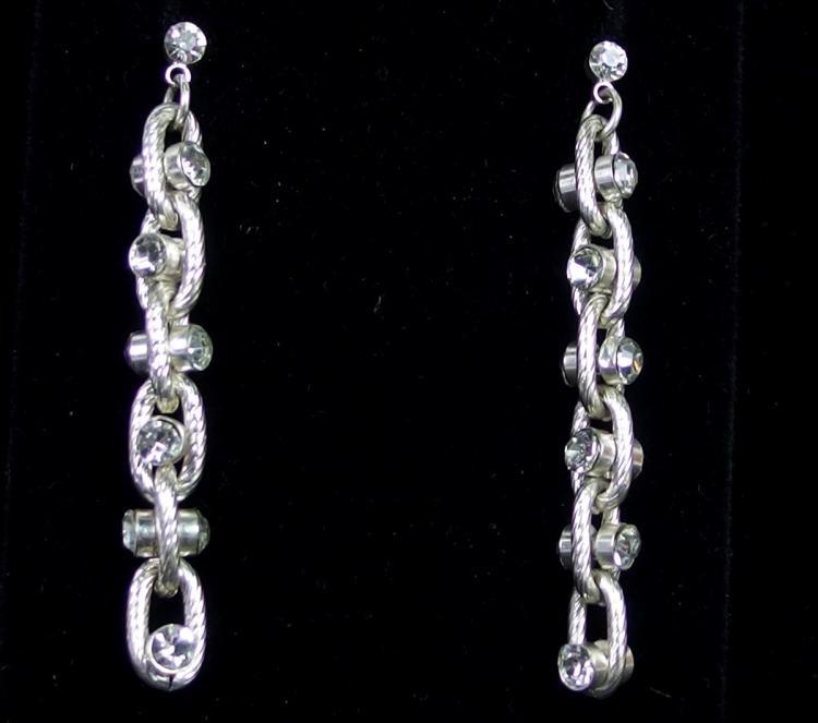 "CZ Studded Silver Chain Earrings, 2-1/8"""