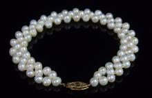 "Lot 46: 14K Gold Pearl Bracelet, 7-1/2"""