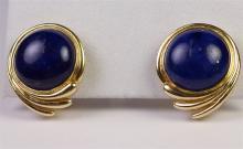 "Lot 48: 14K Gold Lapis Earrings, 7/8"""