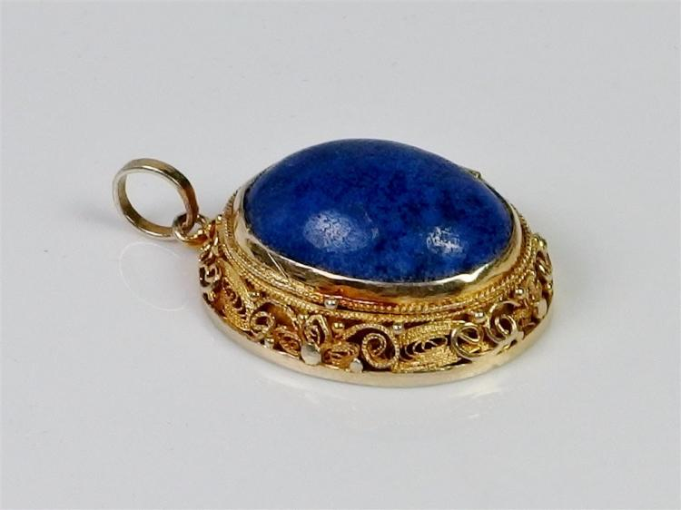 Gold Plated Silver Filigree Blue Lapis Cabochon Locket, 1""