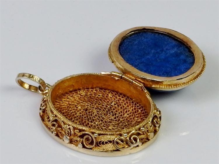 "Lot 49: Gold Plated Silver Filigree Blue Lapis Cabochon Locket, 1"""