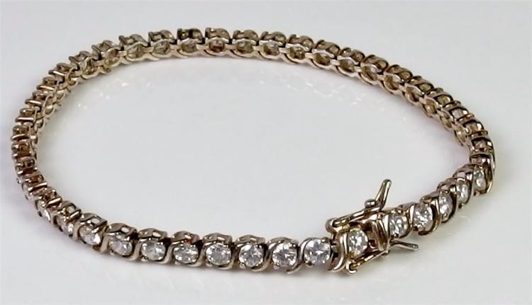 """Sterling Silver CZ Bracelet, 7"""""""