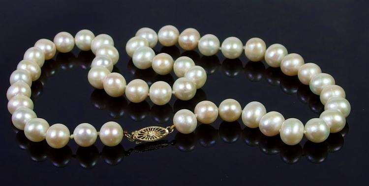 """Lot 52: 14K Gold Pearl Necklace, 18"""""""