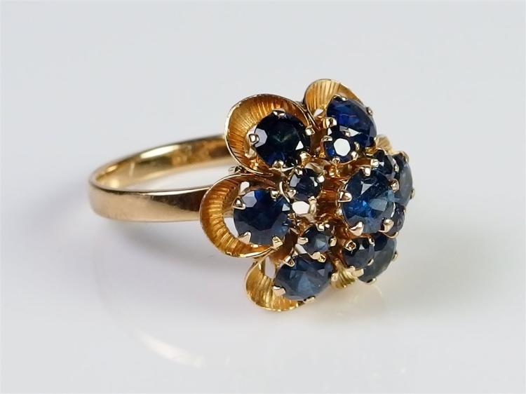 14K Gold Sapphire Cluster Ring, Size 7