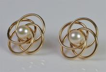 "Lot 56: 14K Gold Pearl Earrings, 3/4"". 2.5g"