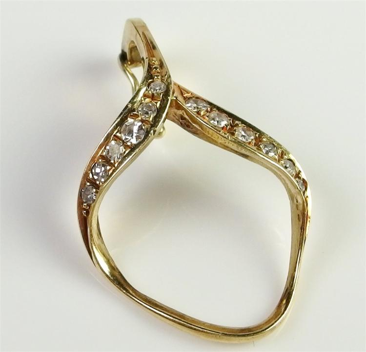 """14K Gold Diamond Enhancer Pendant. 1"""". 2.2g"""