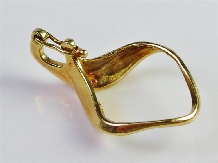"""Lot 57: 14K Gold Diamond Enhancer Pendant. 1"""". 2.2g"""
