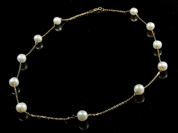 14K Gold Pearl Necklace, 16""