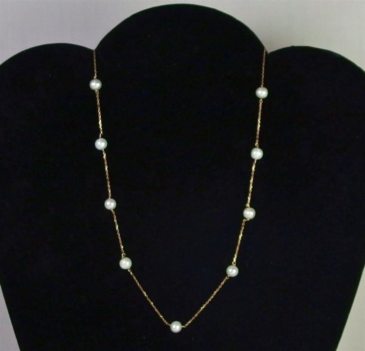 """Lot 58: 14K Gold Pearl Necklace, 16"""""""
