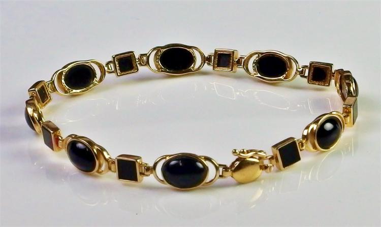 "10K Gold Black Onyx Bracelet, 7-1/4"""