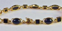 """Lot 59: 10K Gold Black Onyx Bracelet, 7-1/4"""""""