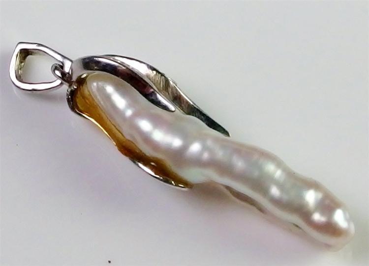 "Lot 60: 14K White Gold Pearl Diamond Pendant, 1-3/8"""