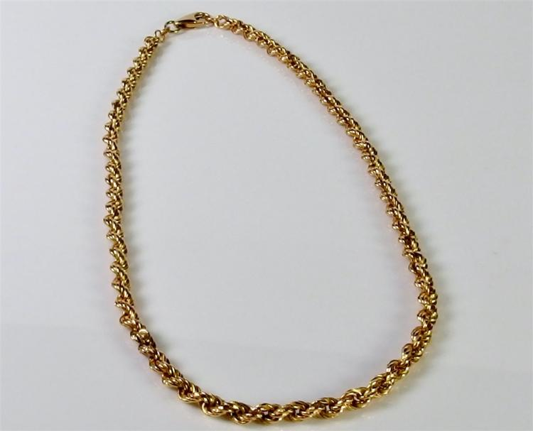 "14K Gold Rope Chain 16"". 7.1g"