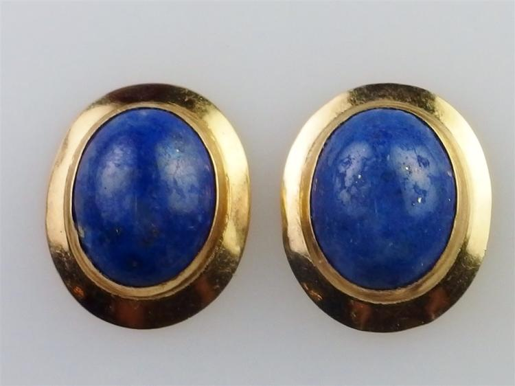 Lot 63: 14K Gold Blue Lapis Earrings, 7/8""