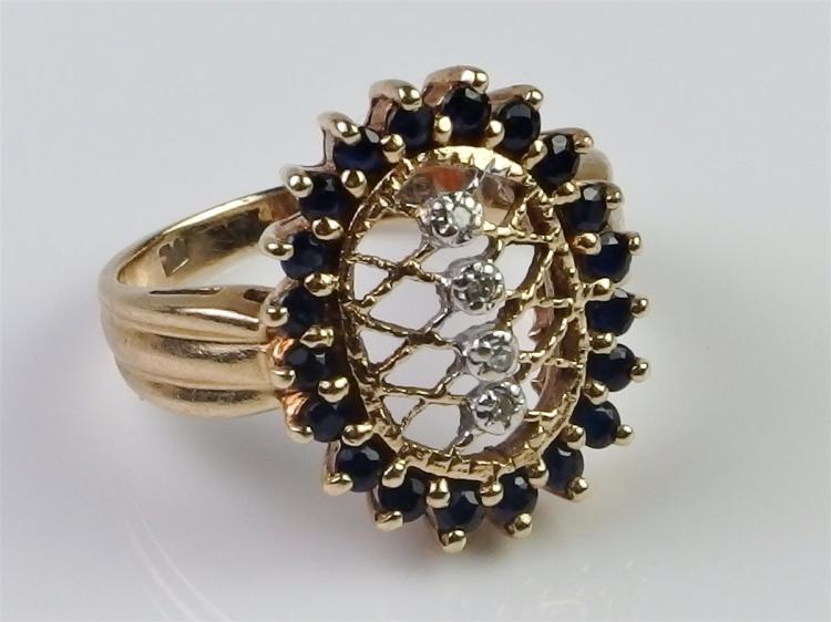 10K Gold Sapphire Diamond Ring Size 5