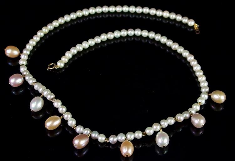 """Lot 65: 14K Gold White Peach Pearl Necklace with Drops, 17"""""""