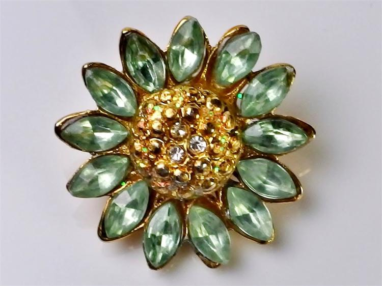 Vintage Daisy Brooch with Aurora Borealis Center