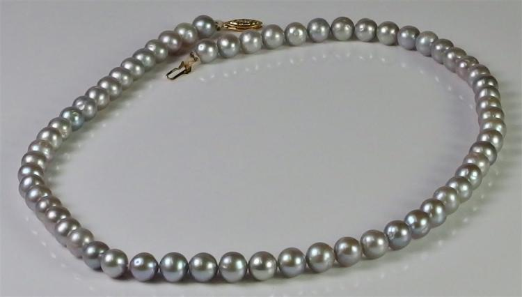 14K PJS Gold Silver Pearl Necklace, 17""