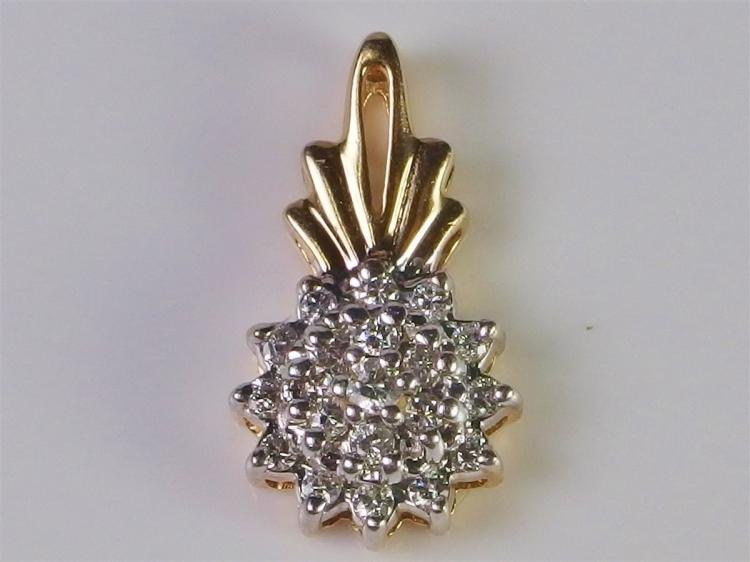 Lot 71: 14K Gold Diamond Pendant