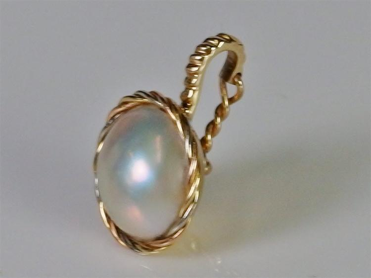 Lot 74: 14K Gold Mabe Pearl Enhancer Pendant