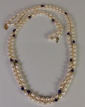 "Lot 77: 14K Gold Pearl Lapis Necklace, 24"""