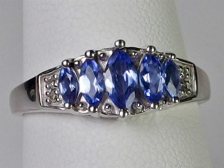Lot 78: Platinum over Sterling Marquise Tanzanite Diamond Ring, Size 7-1/2