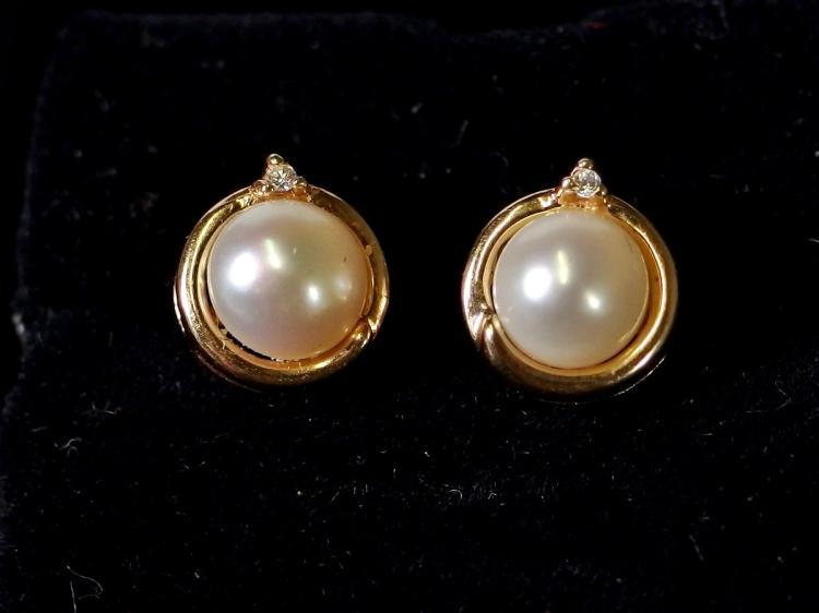 14K Gold Pearl Diamond Earrings
