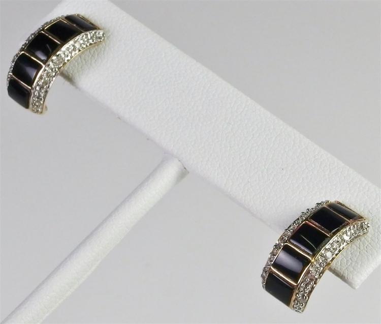 Lot 83: 10K Gold Black Onyx Diamond Hoop Earrings