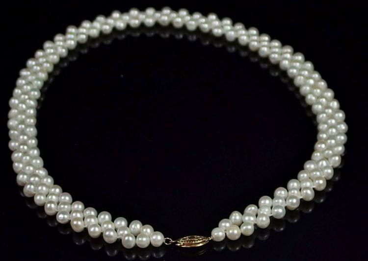 "Lot 84: 14K Gold Pearl Multi-strand Necklace, 17"""