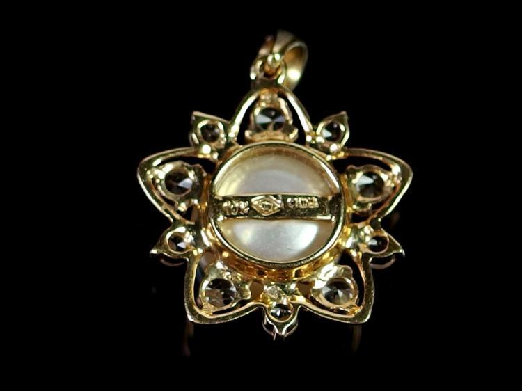 Lot 87: 10K Gold Pearl Pendant