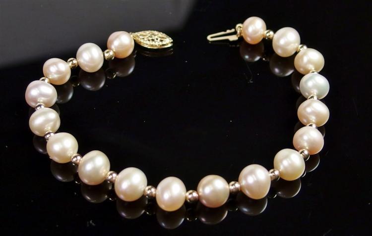 """14K Gold Pearl Pink Bracelet, 7-1/2"""""""