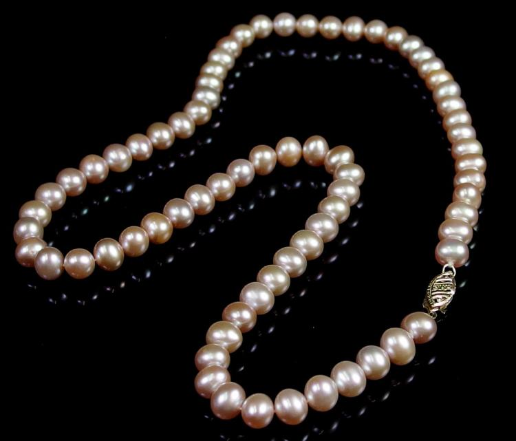 Lot 90: 14K Gold Pink Pearl Necklace, 18""