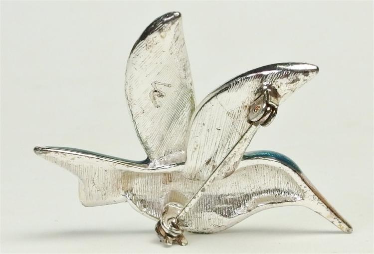 "Lot 15: Liz Claiborne Hummingbird Enamel & Rhinestone Brooch, 2"""