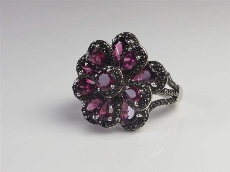 Sterling Rhodolite Garnet Black Diamond  7.6ct. Size 10