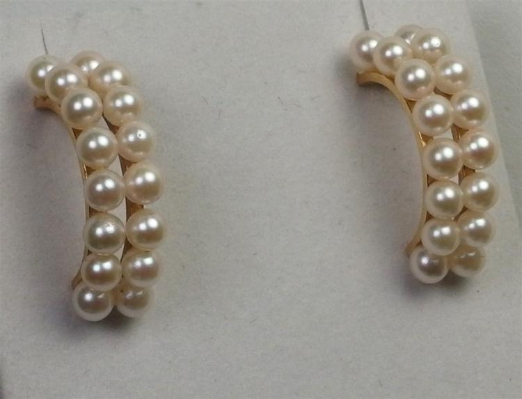 """10K Gold Pearl Hoop Earrings, 1-1/8"""""""