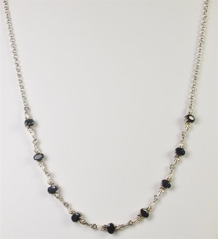 Sterling 9ct. Blue Midnight Sapphire Necklace, 20""