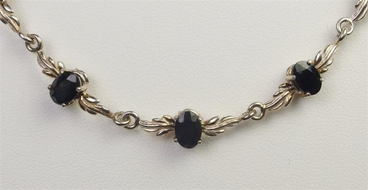 """Lot 94: Sterling 9ct. Blue Midnight Sapphire Necklace, 20"""""""