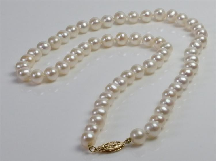 """Lot 96: 14K Gold Pearl Necklace, 18"""""""