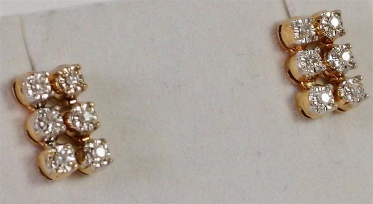 "14K Gold Diamond Earrings, 1/2""."