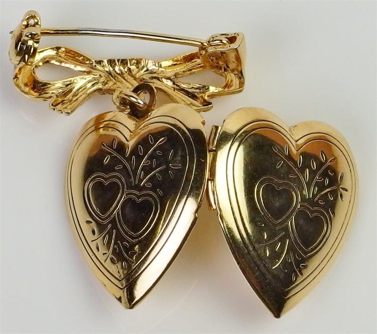 Lot 98: Gold Bow & Embossed Heart Locket Pin
