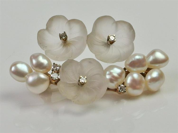 14K Gold Pearl & Frosted Glass Flower Pin w/ Diamond Accents