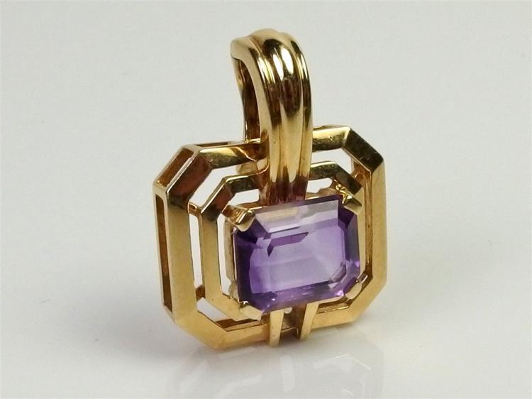 14K Gold Amethyst Enhancer Pendant