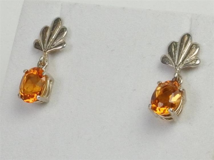 Sterling Citrine Earrings 1.5ct each
