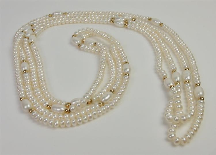 Pearl Necklace with Gold Accent Beads, 60""