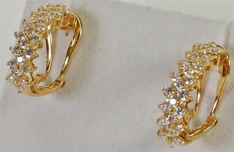 14K Gold White Topaz Hoop Earrings