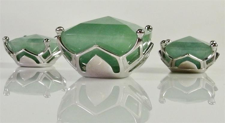 Lot 106: Sterling Jade Pendant & Earring Set