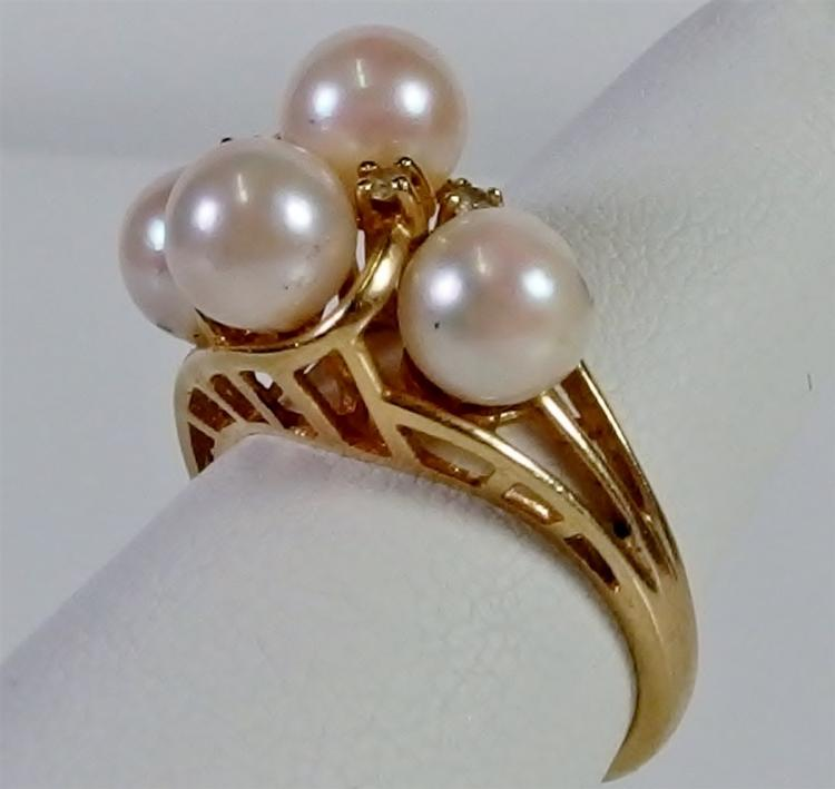 14K Gold Plumb Pearl CZ Cluster Ring, Size 7