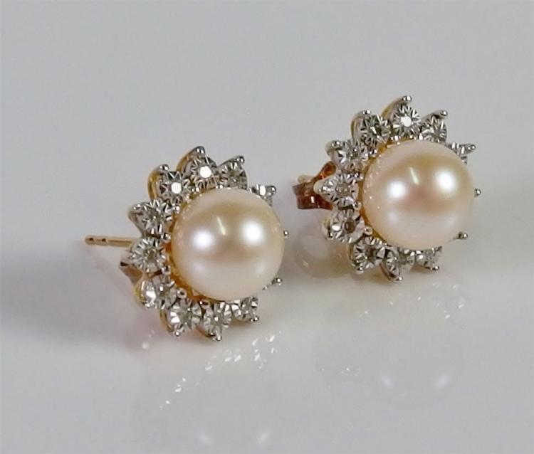 10K Gold Diamond & Pearl Earrings